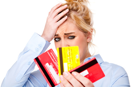 Money Debt Worries, Attractive Young Woman Holding Credit Cards